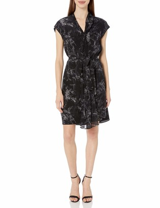Halston Women's Cap Sleeve Draped Neck Printed Silk Dress
