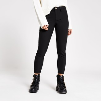 River Island Womens Petite Black Molly techno skinny fit trousers