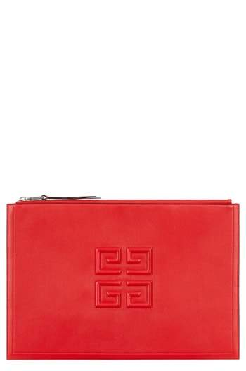 Givenchy Embossed Logo Lambskin Leather Pouch