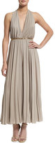 Halston Halter Pleated Wide-Leg Jumpsuit