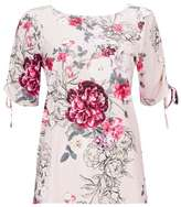 Wallis Pink Floral Print Drawstring Top