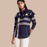 Burberry Check Cotton Frill Detail Shirt