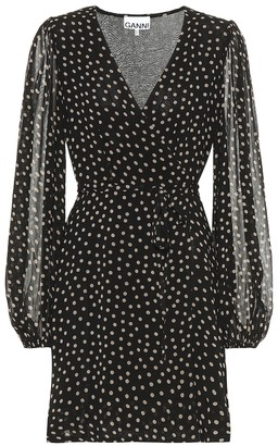 Ganni Polka-dot georgette minidress