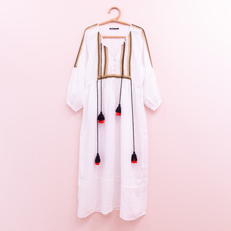 Devotion Long Beaded Dress - S . | cotton | white | Beads - White/White