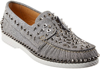 Christian Louboutin Yacht Spikes Glitter Leather Loafer