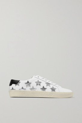 Saint Laurent Court Classic Appliqued Metallic-trimmed Leather Sneakers - White