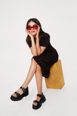 Nasty Gal Womens V-Neckline Midi Dress with Polka Dot Print - Black