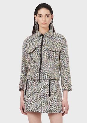 Emporio Armani Multicoloured Tweed Jacket With Zip
