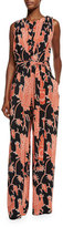 Creatures of the Wind Sleeveless Bird-Print Wide-Leg Jumpsuit, Black/Red