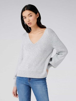 Forever New Fabian Lace-Up Back Jumper - Iced Grey - xxs