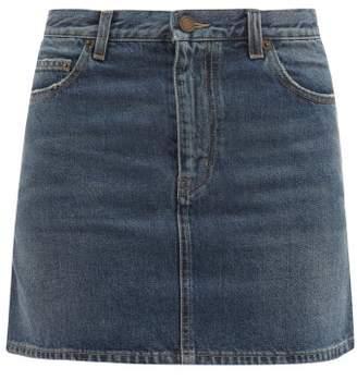 Saint Laurent Mid-rise Denim Mini Skirt - Womens - Denim