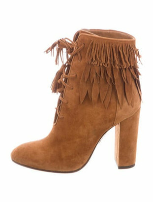 Aquazzura Suede Tassel Accents Lace-Up Boots Brown