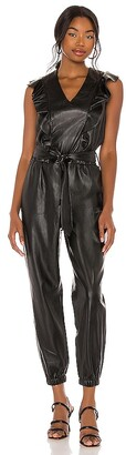 Blank NYC Vegan Leather Flutter Sleeve Jumpsuit