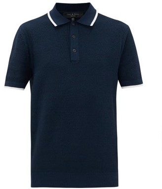 Rag & Bone Edmond Tipped-trim Cotton-blend Pique Polo Shirt - Mens - Navy