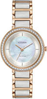 Citizen Eco-Drive Women's Silhouette Crystal Jewelry Two-Tone Stainless Steel Bracelet Watch 30mm EM0483-89D