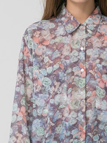 American Apparel Floral Chiffon Oversized Button-Up