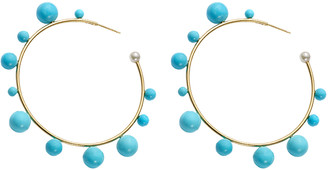 Irene Neuwirth Large Turquoise Gumball Hoop Earrings - Yellow Gold