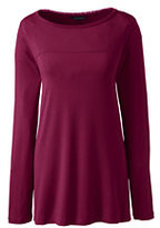 Classic Women's Long Sleeve Easy A-line Tunic-Bright Burgundy