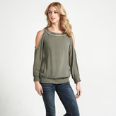 Apricot Khaki Cold Shoulder Long Sleeved Top