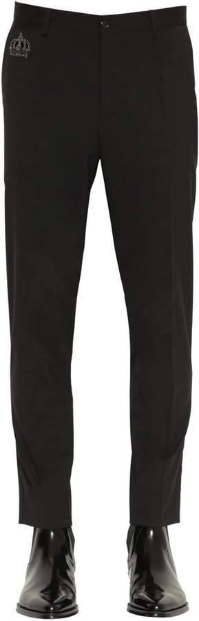 Dolce & Gabbana Wool Blend Canvas Pants W/ Embroidery