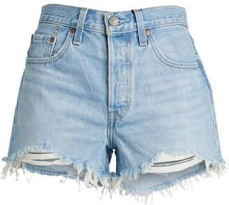 Levi's Frayed-Hem Denim Shorts