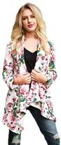 Tenworld Women Long Sleeve Floral Printed Open Front Cardigan Coat Top Blouse (M, )