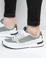 Pull&bear Two-tone Trainers In White And Grey