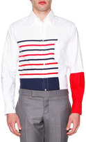 Thom Browne Painted Stripe Oxford, Red/Blue