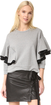 No.21 No. 21 Long Sleeve Ruffled Sweatshirt