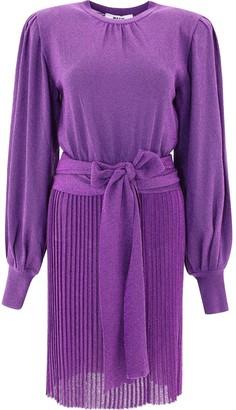 MSGM Tie-Waist Pleated Dress