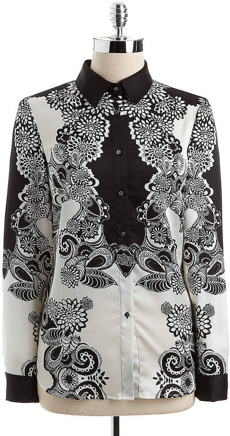 Adrianna Papell Long-Sleeved Printed Blouse