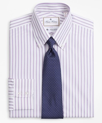 Brooks Brothers Luxury Collection Madison Classic-Fit Dress Shirt, Button-Down Collar Stripe