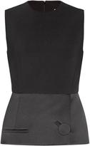 Balenciaga Satin-peplum crepe top