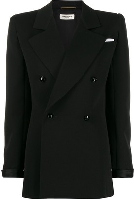 Saint Laurent Structured Shoulder Double-Breasted Blazer