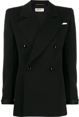 Saint Laurent Structured Shoulder Double Breasted Jacket