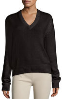 Joseph Cashmere V-Neck Sweater w/ Tie-Back
