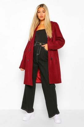 boohoo Tall Double Breasted Wool Look Coat