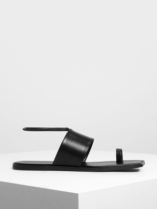 Charles & Keith Square Toe Thong Sandals