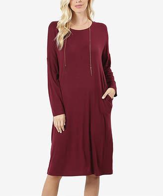 Lydiane Women's Casual Dresses DK.BURGUNDY - Dark Burgundy Crewneck Long-Sleeve Pocket Midi Dress - Women