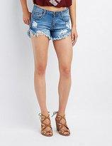 Charlotte Russe Machine Jeans Destroyed Denim Cut-Off Shorts