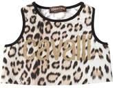 Roberto Cavalli Leopard Print Cotton Jersey Crop Top