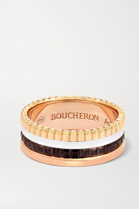 Boucheron Quatre Classique Small 18-karat Yellow, Rose And White Gold Ring - 50