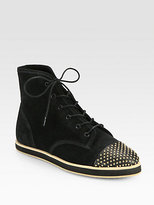 Loeffler Randall Octavia Studded Leather & Suede High-Top Sneakers