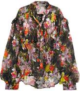 Preen by Thornton Bregazzi Cora Printed Devoré Silk-blend Chiffon Top - Black