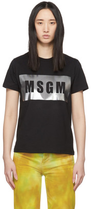 MSGM Black and Silver Logo T-Shirt