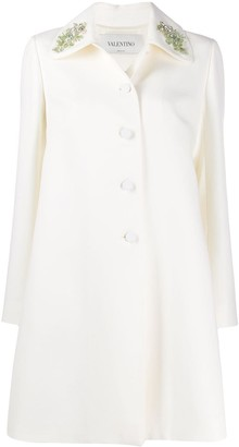 Valentino Embroidered Collar Double-Breasted Coat
