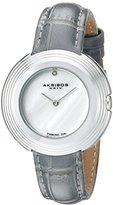 Akribos XXIV Women's AK876GY Mother-of-Pearl Dial Silver Tone & Grey Leather Strap Watch