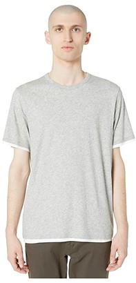 Vince Double Layer Short Sleeve Crew Neck Tee (Heather Grey/Optic White) Men's Clothing