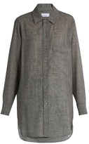 Raey Long-line Prince of Wales-checked wool-blend shirt