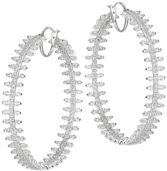 Adriana Orsini Tivoli Silvertone Spike Hoop Earrings